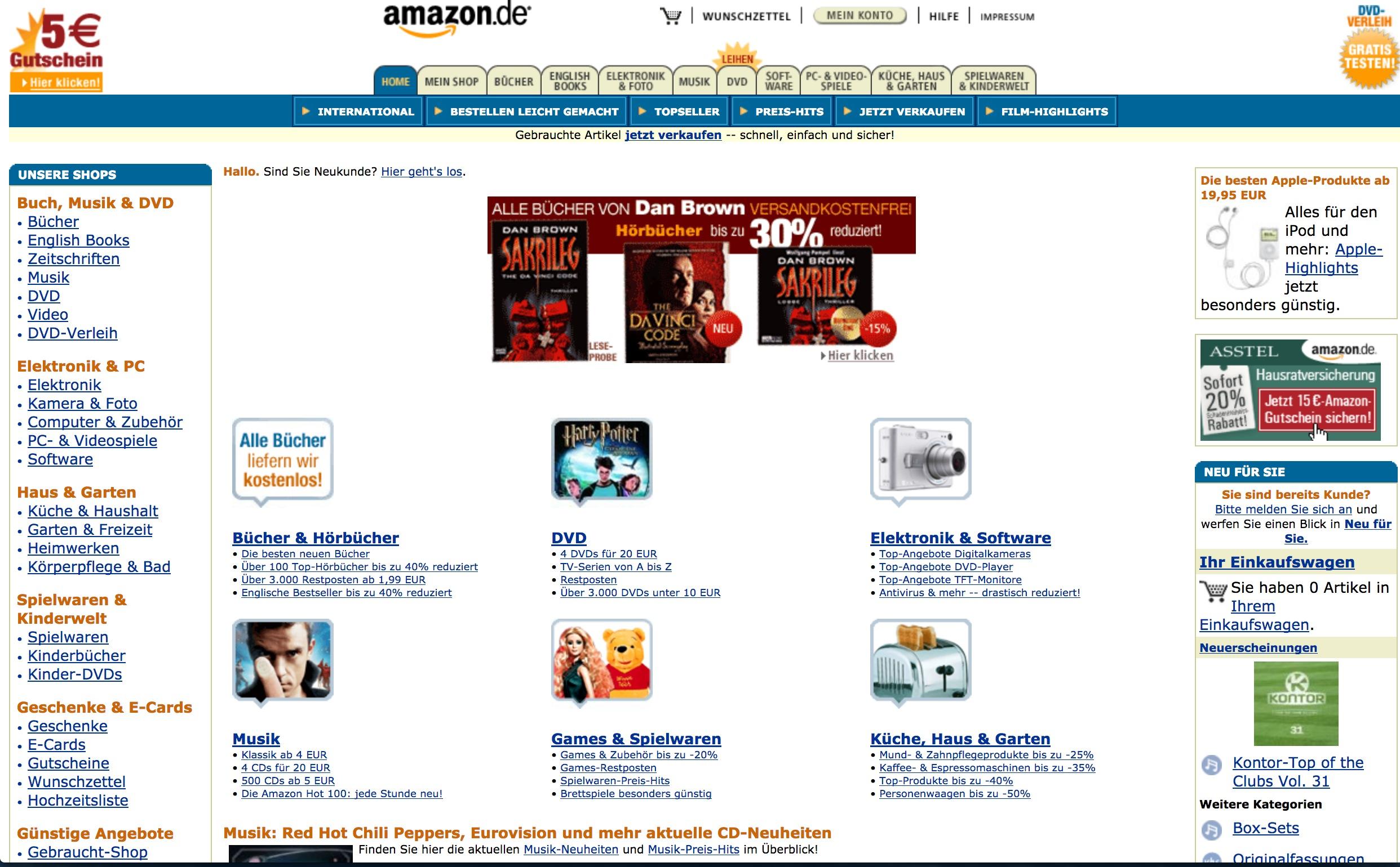 Amazon Webseite aus dem Jahr 1998