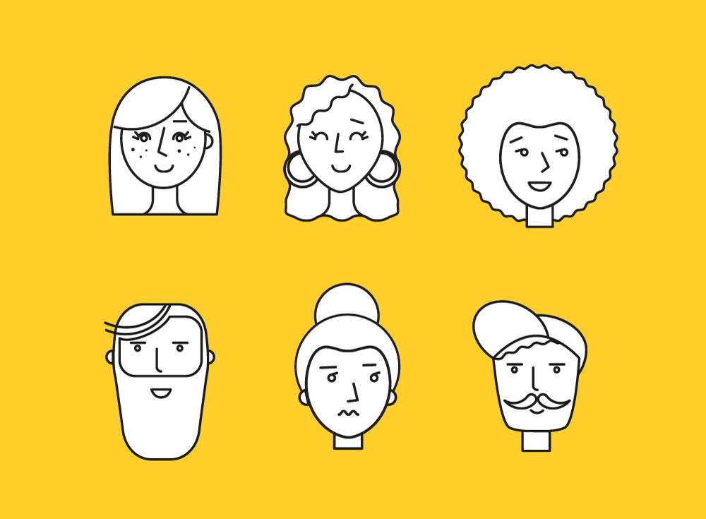 Zielgruppe definieren mit Personas: Grafik mit unterschiedlich aussehenden Menschen